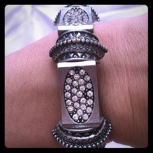 Antiqued Silver/Crystal Bracelet
